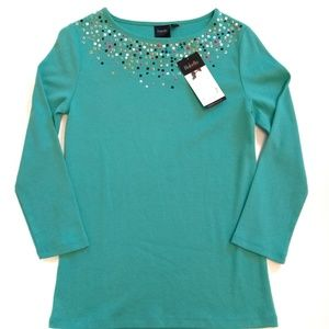 NWT Rafaella Turquoise Embellished Jewel Knit Top